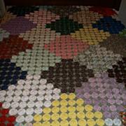 """SOLD Vintage American """"Yo-Yo"""" Pattern Quilt - 54"""" X 90"""" in Size"""