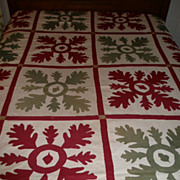 """SOLD Early American """"Applique"""" Summer Quilt w/Oak Leaf & Acorn Decoration - Dated 18"""