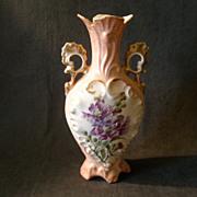 Victoria Carlsbad Austria Hand Paint Vase w/Floral Decoration