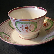 SOLD Early Pink Lustreware Handleless Cup & Saucer w/Floral Decoration