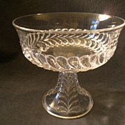 "Early American Pressed Glass ""Plume"" Pattern Compote w/Smooth Rim"