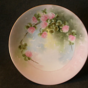 SOLD T & V Limoges Hand-Painted & Signed Plate w/Wild Pink Clover Blossoms Motif