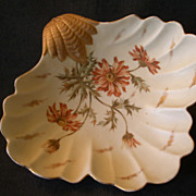 """Royal Rudolstadt """"Shell-Shaped"""" Console/Serving Bowl w/Poppy Floral Design"""