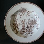 Thomas Elsmore & Son  Brown Transfer-ware Aesthetic Pattern Soup Bowl