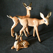 "SOLD Brad Keeler California Pottery 3-Piece ""Deer Family"" Figurine Set"
