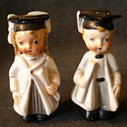 "SOLD George Lefton China ""Turn About Graduate"" Boy & Girl S/P Shakers"