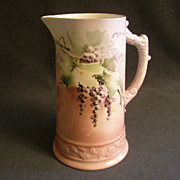 American Willets Belleek Hand-Painted Pitcher w/Grapes Motif