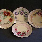 Set of 4 - Beautiful Hand Painted Porcelain Cabinet Plates w/Floral Motif