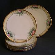 Bavaria Porcelain Hand Painted 6-Piece Dessert Set w/Red Roses Motif