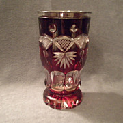 Bohemian Deep Ruby to Clear Cut Designed Vase
