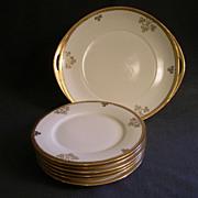 """Shamrock Pattern"" Hand Painted  Porcelain 7-Pc Dessert Service"