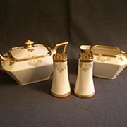 """""""Shamrock Pattern"""" Hand Painted  Porcelain Sugar, Creamer & Salt/Pepper Set"""