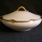 "Charles Haviland & Co. Limoges ""Silver Anniversary"" Round Covered Vegetable Tureen -"