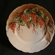 Hand Painted Porcelain Plate w/Red Currants & Leaves Motif