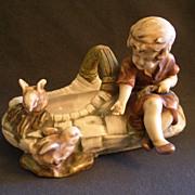 Turn-Teplitz Imperial Amphora Figural Basket w/Young Girl Feeding Baby Chicks