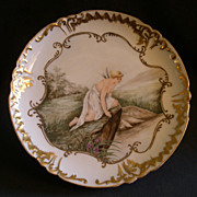 Jean Pouyat (JPL) Limoges Hand-Painted Charger w/Psyche Looking at Her Reflection