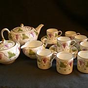 Josiah Wedgwood & Sons 19-Piece Bone China Demi-Tasse Tea Set w/Grapes/Vines/Leaves Motif