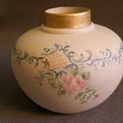 Hand Painted Porcelain Vase w/Soft Pink Roses & Blue Scroll Motif