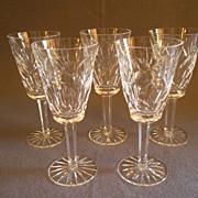 "Set of 5 Waterford Crystal ""Ashling"" Pattern Sherry Stems"