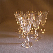 """Set of 6 Waterford Crystal """"Glencree"""" Pattern Sherry Stems"""