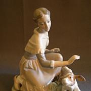 """Lladro """"Caressing A Little Calf"""" Porcelain Sculpture  #4827"""