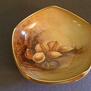 "SOLD Pickard China Hand Painted ""Nut Harvest"" Five-Sided Bowl w/Ball Feet"