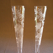 "SOLD Pair of Tiffin Glass ""Fuchsia"" Pattern Bud Vases"