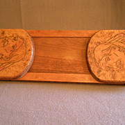 Arts & Crafts Era Pyrographic Folding/Expandable Book Rack  w/Native American Image & Motto ..