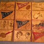"Vintage Grouping of Twelve ""Leather"" Post Cards"