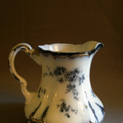 "Ridgways Flow Blue Pitcher ""Chiswick"" Pattern - 5 1/2"" Tall"