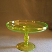"""Tiffin Vaseline (Uranium) Glass """"Spiral Optic"""" Round, Stemmed Tazza"""