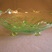 "Fenton Green Transparent ""Stag & Holly"" Scalloped Bowl w/Ball Feet"