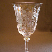 """Pair of Heisey Glass """"Orchid"""" Pattern Water Goblets - Stem #5025, Etch #507"""