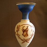 SOLD Victorian Bristol Glass Vase w/Stag and Ivy Decoration