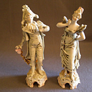 """SOLD Pair of Porcelain """"French Gentleman & Madam"""" Figurines"""