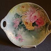 SOLD Jean Pouyat (JPL) Limoges Hand-Painted Cake/Cookie Plate: Chrysanthemum Flowers Motif