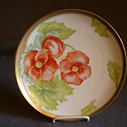 P T Bavaria Cabinet Plate w/Transfer Orange Poppy Blossoms Motif