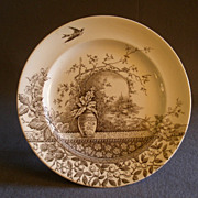 """SOLD Burgess & Leigh Brown Transfer-ware """"Rustic"""" Pattern Dinner Plate"""