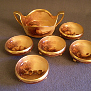 "Pickard China Hand Painted ""Nut Harvest"" Serving Bowl w/5 Individual Cups"