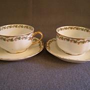 """SOLD Pair of Haviland & Co. Limoges """"Clover Leaf"""" Pattern Cups & Saucers, Schleiger"""