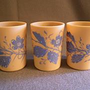 """Set of 3 """"Fireglow"""" Art Glass Tumblers w/Blue Enamel Floral Motif"""