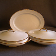 Pope Gosser China - Pop28 Pattern - Platter and Two Covered Vegetable Bowls - White w/Gold Tri