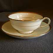 Aynsley Porcelain, Set of 7 Cups & Saucers, White w/Gold Encrusted Design