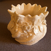 Irish Belleek Porcelain Ribbed Shell Vase w/Applied Roses & Shamrocks