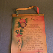 "SOLD Vintage Leather Wall-Hanging Poem ""To My Sister"""