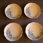 SOLD Haviland Limoges - Set of 4 Hand Painted Butter Pats w/Forget-Me-Not Motif