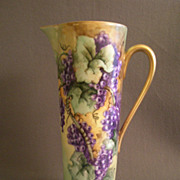 T & V Limoges Hand Painted Tankard Pitcher w/Grapes Motif