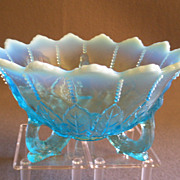 """Northwood Glass Blue Opalescent """"Leaf & Beads"""" Footed Bowl"""