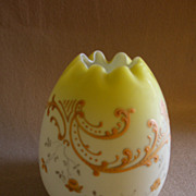 "Victorian Yellow Hand-Painted ""Egg Shape"" Satin Glass Rose Bowl"