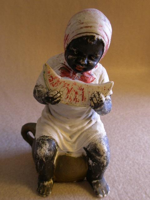 Black Americana Figurine Girl On Chamber Pot Eating